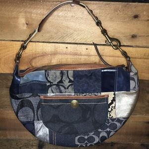 Coach Patchwork Small Blue Hobo Bag